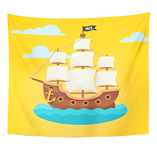 Emvency Tapestry Boat Pirate Ship with White Sails and Black Scull Crossed Bones Flag Flat Style Old Wooden Home Decor Wall Hanging for Living Room Bedroom Dorm 50x60 inches