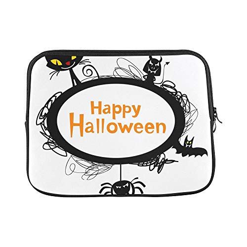 Design Custom Halloween Frame Silhouettes Black Cat Sleeve Soft Laptop Case Bag Pouch Skin for MacBook Air 11