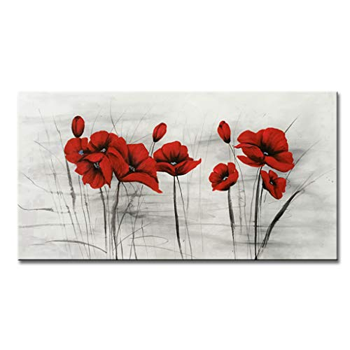 - EVERFUN ART Hand Painted Red Flower Modern Floral Oil Painting on Canvas Wall Art for Living Room Bedroom Dining Room Office Stretch and Framed (48