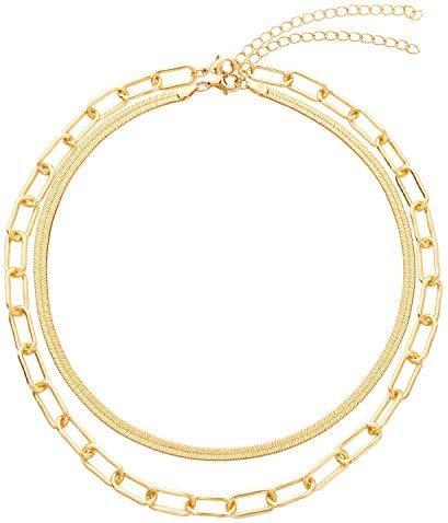 BaubleStar Link Layered Necklace Gold Layering...
