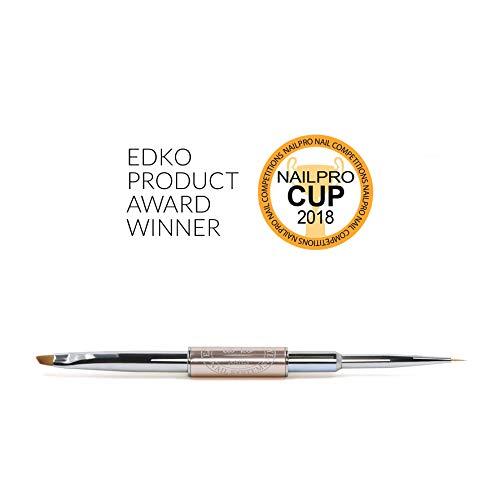 Nail System Art (EDKO's Gel Designer Brush 2-in-1 Professional Nail Brush Tips Builder UV/LED Painting Pen - Nail Art Brush Nº000 / One Stroke Nº4)