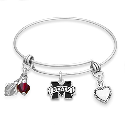 FTH Silver Tone Wire Bracelet with Mississippi State Charm and Colors