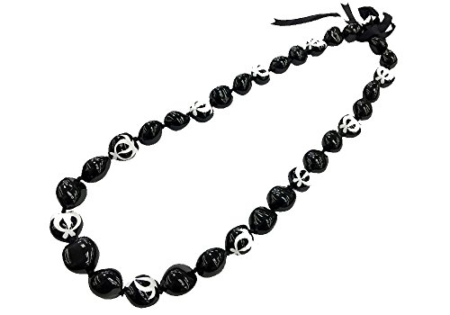 Painted Kukui Nuts - DK Hawaiian Collections Style Kukui Nut Lei Turtle Hand Painted 32 Nuts Necklace (White)