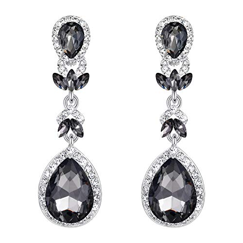 BriLove Wedding Bridal Dangle Earrings for Women Crystal Marquise Leaf Teardrop Chandelier Earrings Grey Black Silver-Tone