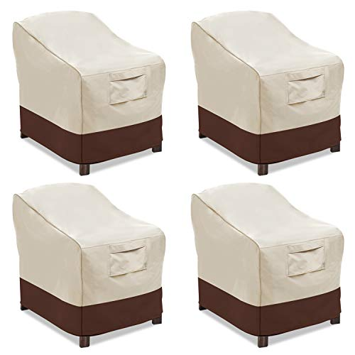 Vailge Patio Chair Covers, Lounge Deep Seat Cover, Heavy Duty and Waterproof Outdoor Lawn Patio Furniture Covers (4 Pack - Large, Beige & Brown) (Outdoor And Table Clearance Chairs)