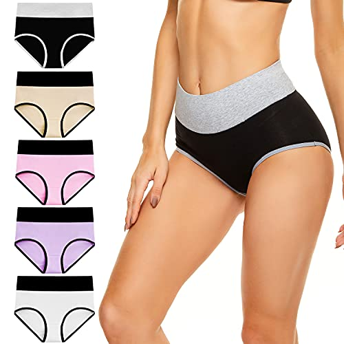 cassney Women's High Waisted Underwear Ladies Stretch Cotton Panties Full Coverage Briefs 5 Pack (Multicoloured, Small)