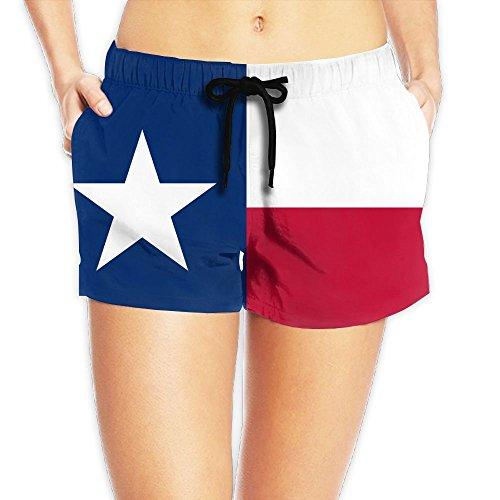 MSACRH Flag of Texas Women's Summer Quick Dry Beach Shorts Swimming Trunks Surfing Running Cargo Shorts White ()