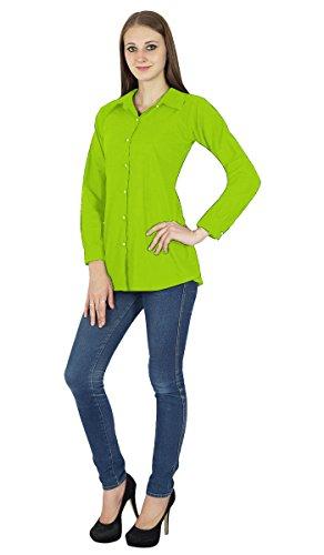 Camisa con botones de manga larga camiseta de algodón Kurta Ropa verde fluorescente