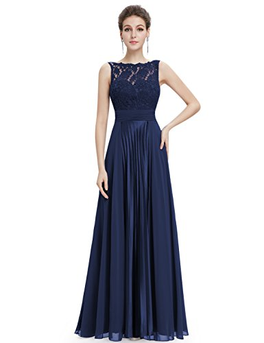 Lace Lang Ever 08352 Pretty Aermellos Navy Blau1 Feierlich Damen Party Abendkleider rEqpqI