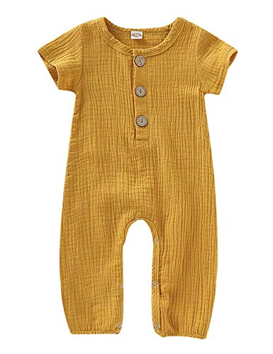 fiercewolf Newborn Baby Girls Boys Romper Solid Jumpsuit Linen Cotton Short Sleeve Ruffled Bodysuit Infant Summer Clothes Outfit Yellow