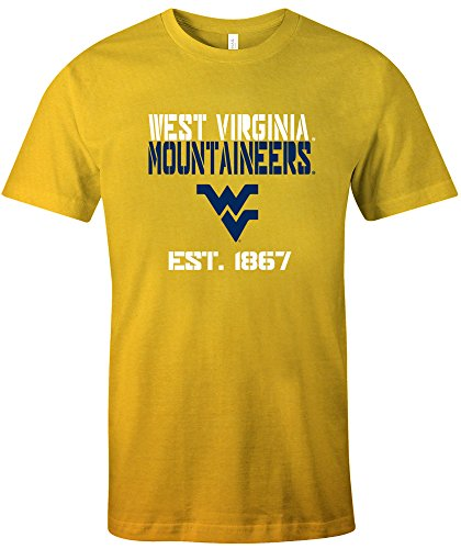 NCAA West Virginia Mountaineers Est Stack Jersey Short Sleeve T-Shirt, Gold,X-Large