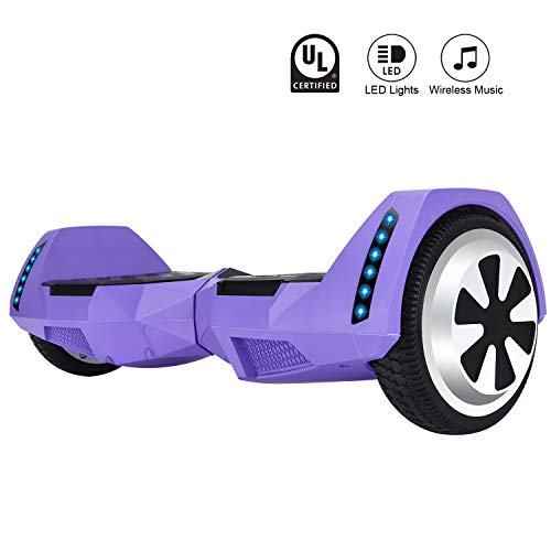 CXM2018 Bluetooth Enabled 6.5 inch Self Balancing Hoverboard with Built-in Wireless Speaker,250Watt Dual Motors and LED Side Lights for Kids and Adults,UL 2272 Certified Electric Scooter (Purple) -