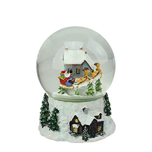 Northlight Musical and Animated Santa and Reindeer Rotating Christmas Water Globe, 6.75
