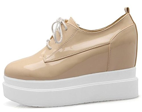 Easemax Mujeres Casual High Wedge Tacones Dentro De La Plataforma Sneakers Lace Up Albaricoque
