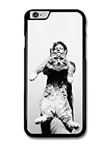 """AMAF ? Accessories Ed Sheeran Holding Funny Cat Black & White case for iPhone 6 Plus (5.5"""")"""