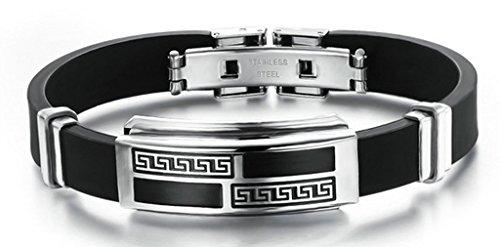 Basketweave Earrings Jewelry - Anazoz Stainless Steel Bracelets Geometric Picture Silicone Width 19.5 * 0.16cm,0.16g Black Women's Men's