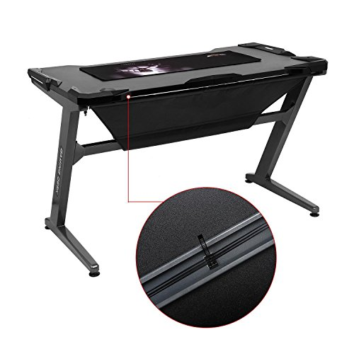 Leoneva Racing Table E-sports Gaming Desk Ergonomic Comfortable Z-Shaped Computer Desk Table With LED Ambience Lighting, 48.3 x 25.8 x 29.9inch (US Stock, Black) by Leoneva (Image #7)