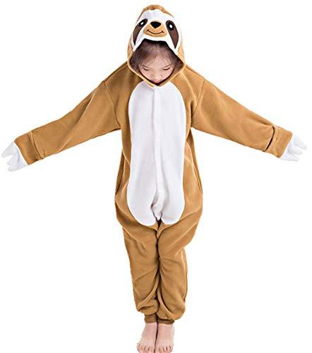 CANASOUR Unisex Custume Halloween Kids Unisex Onesie Party Children Cosplay Pyjamas (125#(Size 10), Brown Sloth)