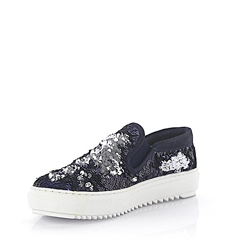 Agl Attilio Giusti Leombruni Sneaker Slip On Leather Blau Finito Paillettes Blau