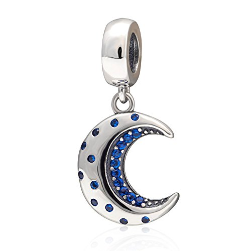 Blue Moon Pendant with Clear CZ Charm 925 Sterling Silver Beads Fit European Bracelet