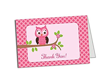 50 pink owl thank you cards baby shower birthday party any occasion