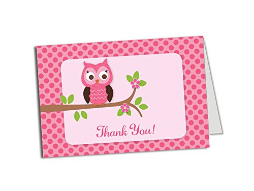50 Pink Owl Thank You Cards - Baby Shower - Birthday Party - Any Occasion - A6 Size -