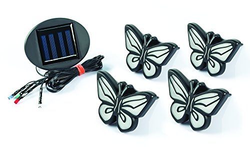 Ideaworks-LED Butterfly Lights-Sets of 4-Solar Powered-Automatically Turns On at Dusk & Off at Dawn-Space Each Light up to 32-Easy Installation