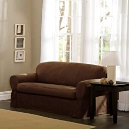Maytex Piped Suede 2-Piece Loveseat Slipcover, Brown