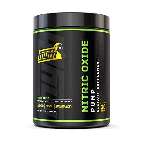 Myth Labs Pump Nitric Oxide Booster Powder – Caffeine Free Pre Workout Nitric Oxide – Contains Vaso 6, Nitrosigine, L-Citrulline, L-Norvaline – Green Apple, 30 Servings