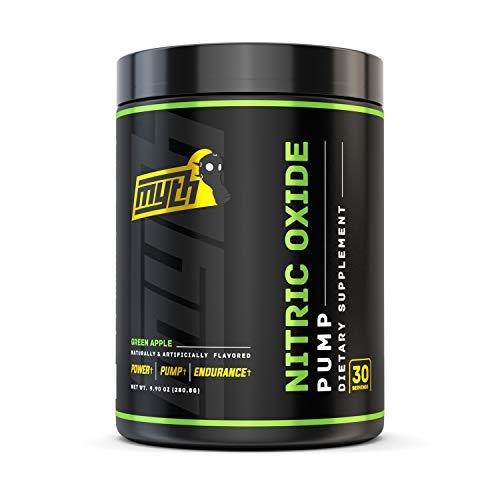 Myth Labs Pump Nitric Oxide Booster Powder – Caffeine Free Pre Workout Nitric Oxide – Contains Vaso 6, Nitrosigine, L-Citrulline, L-Norvaline – Green Apple, 30 Servings