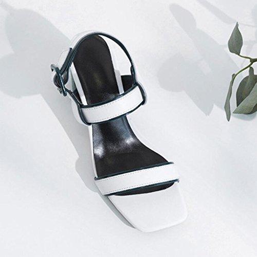 para con tacón Zapatos Blanco de Sandalias tacón de de cuero alto abierta Sandalias de GAOLIXIA cuña mujer alto punta Zapatos Tqn1Ywg4xt