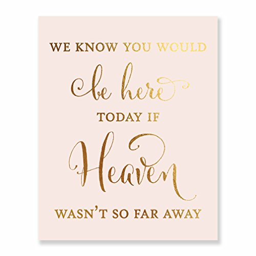 Wedding Memorial Gold Foil Art Print Pink Poster Family Remembrance Sign Quote Metallic Decor 8 inches x 10 inches D30
