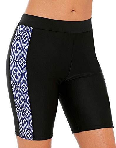 ATTRACO Women's UV Long Bike Shorts Rash Guard Boy Leg Swim Bottom Black XL ()