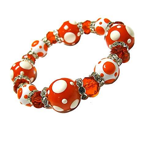 Linpeng PD-09 Fiona Hand Painted Polka Dots Glass Beads Stretch Bracelet