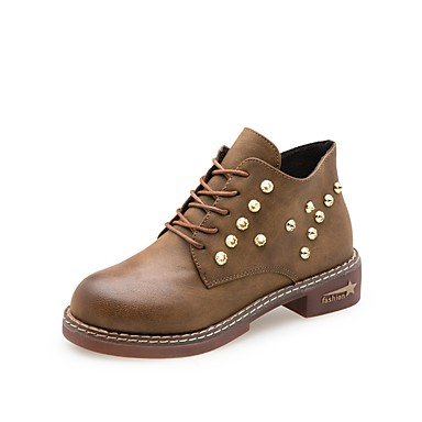 RTRY Zapatos De Mujer Pu Caída De La Moda Botas Botas Tacón Pequeño Round Toe Lace-Up For Casual Caqui Verde Negro US6 / EU36 / UK4 / CN36