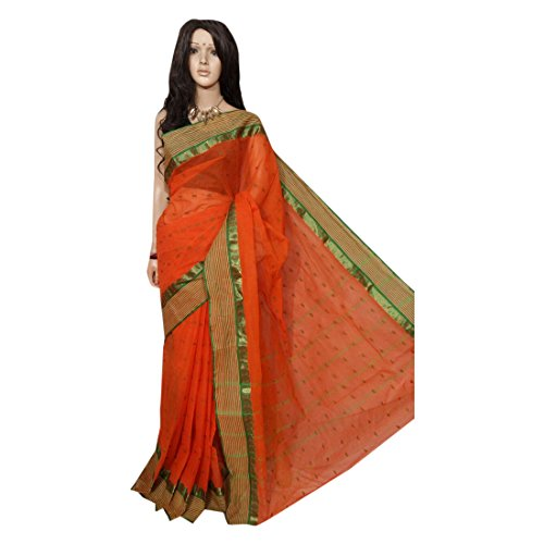 - ETHNIC EMPORIUM Traditional Handloom Casual Pure Check Cotton tant Saree,No Blouse Sari Indian Ethnic Wear 101