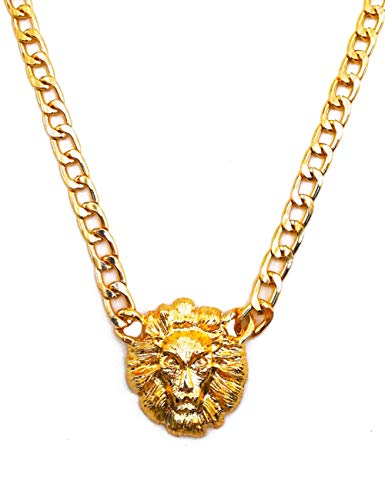SL SWEETLOVEJEWELRY Hip Hop Style Golden Lion Necklace 16' Long Titanium Steel Clavicle Necklace for Women Girls