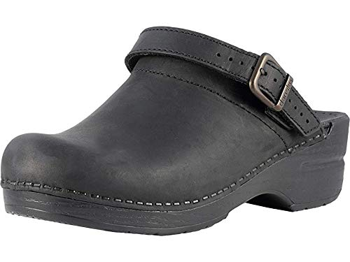 - Dansko Women's Ingrid Black Oiled Leather Clogs 41 M