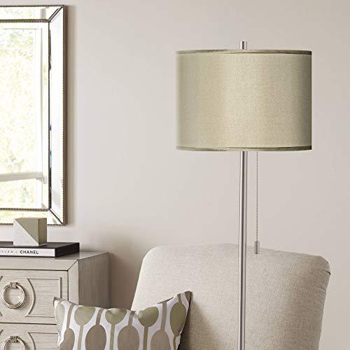 Sesame Polyester Brushed Nickel Pull Chain Floor Lamp - Possini Euro Design
