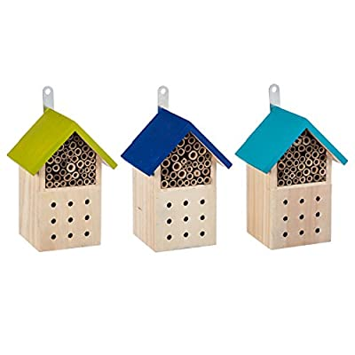 Evergreen Garden Multi-Color Wooden Hanging Bee House Habitats, Set of 3