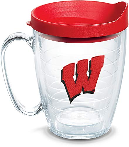 Tervis 1083499 Wisconsin Badgers Primary Logo Tumbler with Emblem and Red Lid 16oz Mug, Clear