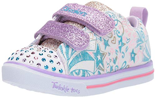 (Skechers Kids Girls LITE-Sparkle Scribble Sneaker White/Lavender 8 Medium US Toddler)