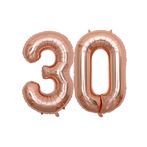 BALONAR 40 inch Jumbo 30th Rose Gold Foil Balloons for Birthday Party Supplies,Anniversary Events Decorations and Graduation Decorations (ROSE30)