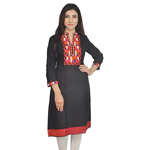Chichi Indian Women Kurta Kurti 3/4 Sleeve Medium Size Plain with Jaipuri Embroidered Straight Black Top by CHI