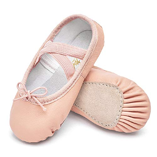 (STELLE Girls Premium Leather Ballet Shoes Slippers for Kids Toddler (8MT, Nude))