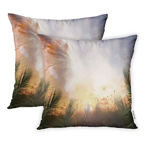 Palm Sunday Set (Emvency 16x16 Inch Decorative Set of 2 Throw Pillow Cover Worship Palm Sunday Border of Leaves Over Meadow Sunset Easter Square Home Cushion Sofa Two Sides Pillow Case)