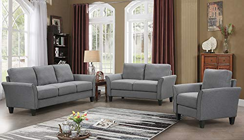 Harper&Bright Designs Living Room Sets Living Room Furniture Sofa 3 Piece Sofa Loveseat Chair Sectional Sofa Set (Light ()