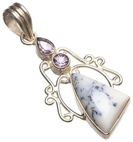 StarGems Natural Gemstone Unique Design Dendritic Opal and Amethyst 925 Sterling Silver Pendant - Large Opal Globe Pendant