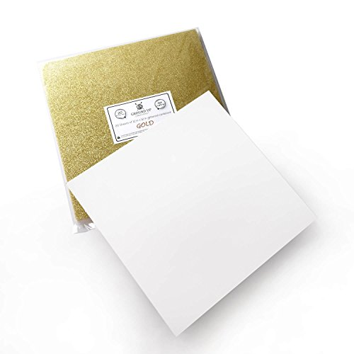 Premium 20 Sheets Glitter Cardstock 12'' x 12'' - Use For Scrapbooking - Holidays - Weddings - Birthdays - Surprise Parties - 300GSM For Paper Cutting Bending Or Shaping (Gold, 20 Pack) by Ground Up Creations