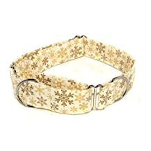 """Golden Snowflakes,, 1.5 inch wide Christmas Martingale Dog Collar (Large 1.5 inch wide Opens to 17-25"""")"""